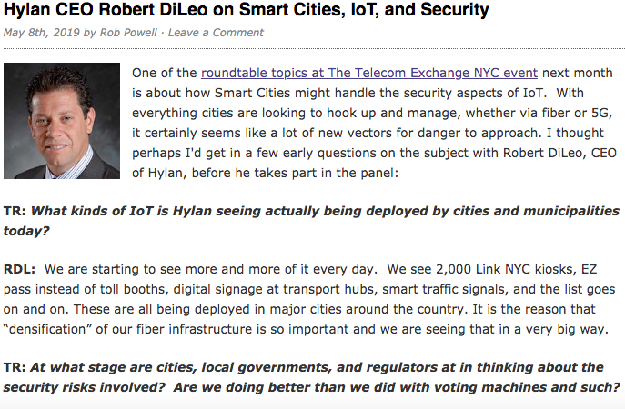 Hylan CEO Talks to Telecom Ramblings About Smart Cities, IoT and Security